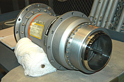 7-inch quick disconnect that will be replaced on the hydrogen vent line to the Ground Umbilical Carrier Plate of space shuttle Discovery's external fuel tank. Photo courtesy of United Space Alliance