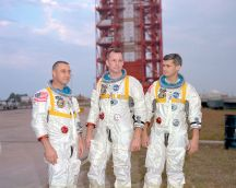 Grissom, White, and Chaffee pose in front Apollo 1. photo credit: NASA