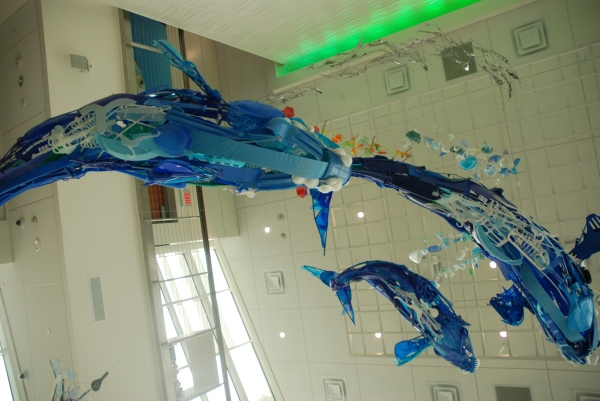 Lobby sculpture made of recycled beach junk