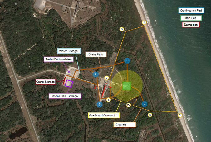 Aerial map of historic Launch Complex 13 at Cape Canaveral Air Force Station, outlining plans for the first ever 'Landing Pad' designed for SpaceX's Falcon rocket. (PHOTO/45th Space Wing)